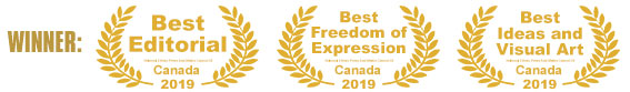 Iranstar Won three 3 Canadian Awards: Best Editorial, Best Freedom of Expression, Best Ideas and Visual Art