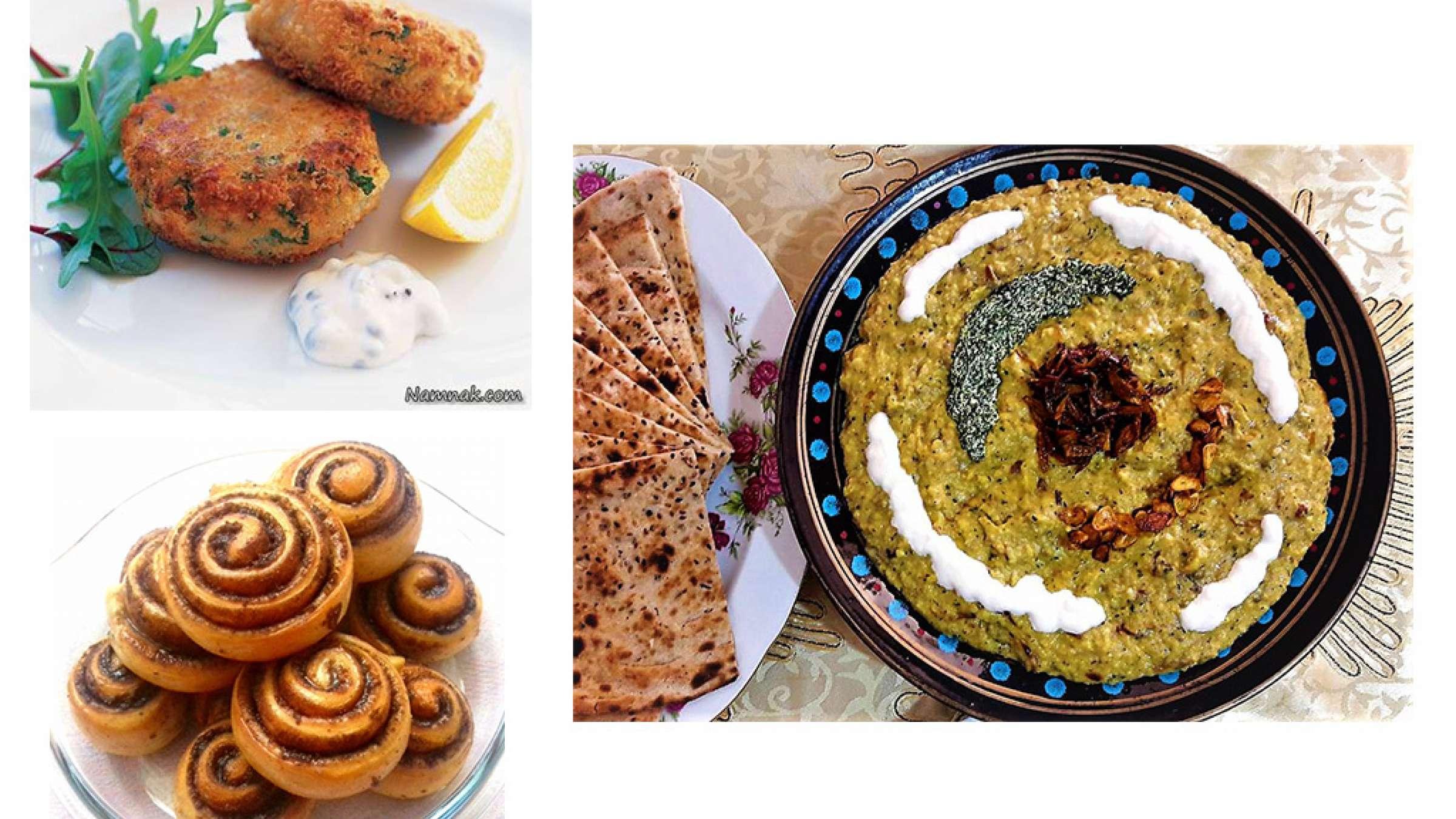آشپزی-ترابی-کتلت-ماهی-سالاد-ذرت-رول-بافته-دارچینی-حلیم-فاصولیه-سوپ-قارچ