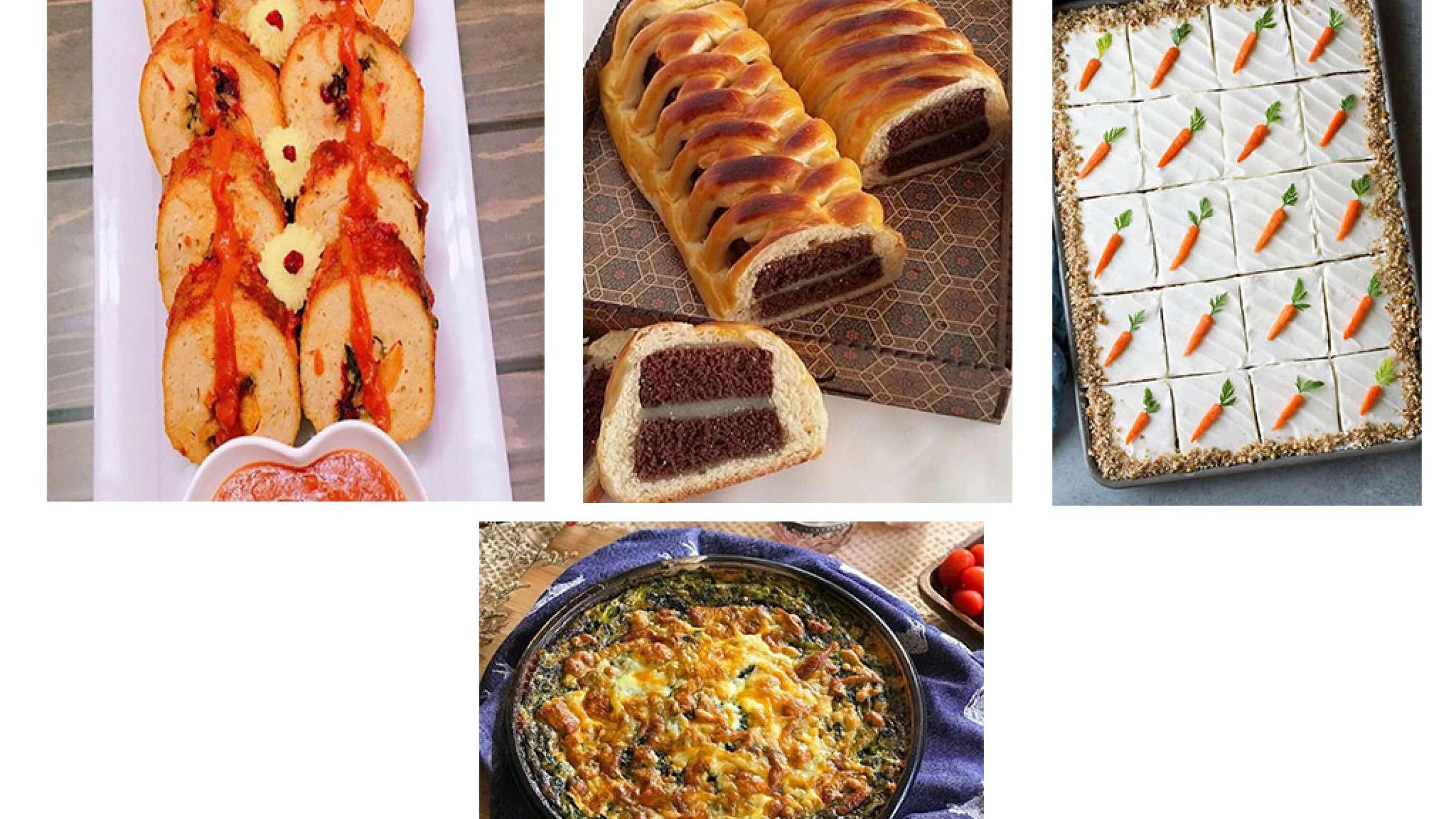 آشپزی-ترابی-کیک-هویج-تختهای-رولت-مرغ-کوکوی-اسفناج-و-ترهفرنگی-کیک-دانمارکی