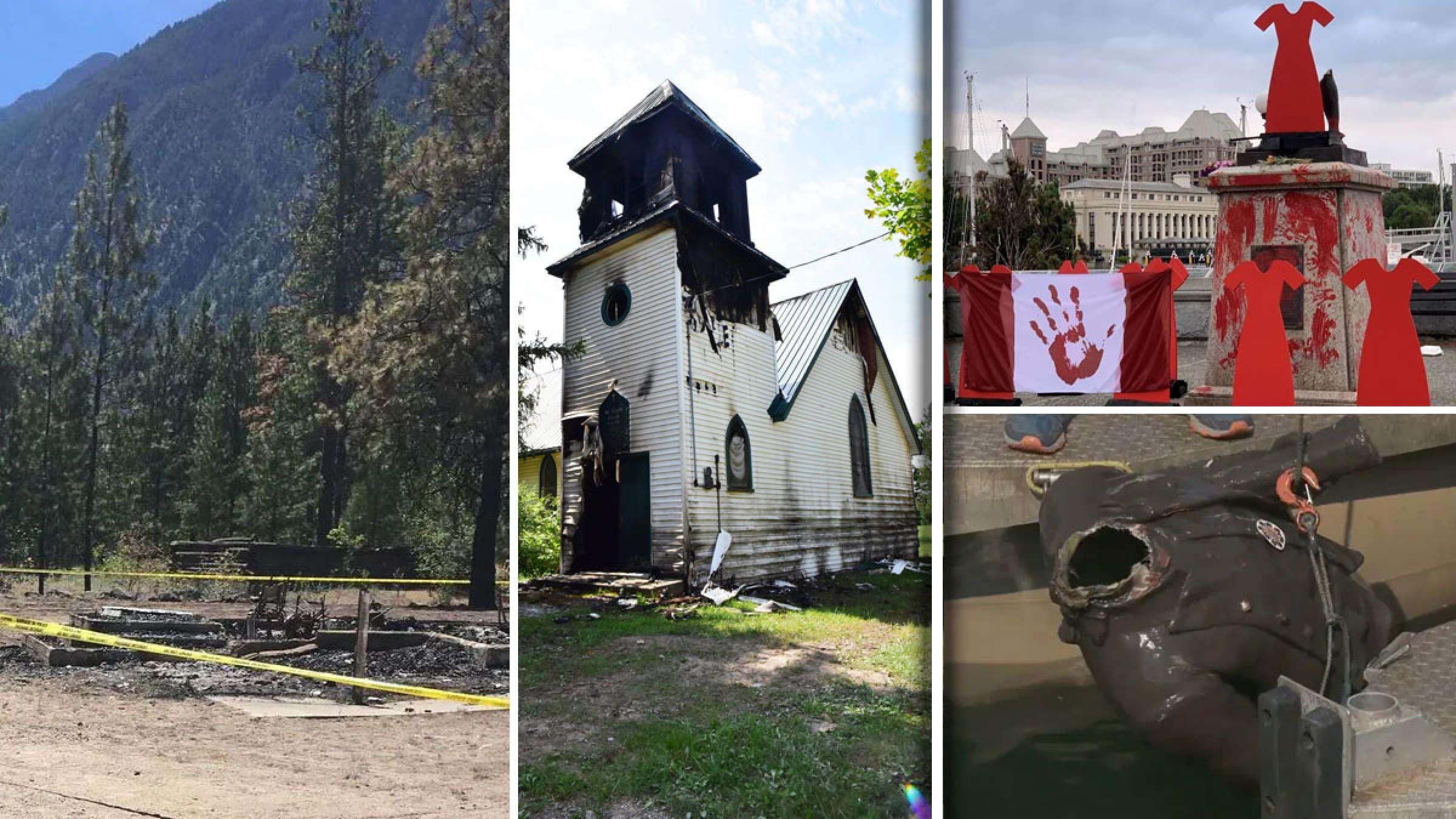 خبر-کانادا-مجسمه-جیمز-کوک-پایین-کشیده-سرش-بریده-غرق-کلیسای-نهم-و-دهم-به-آتش-کشیده-شدند