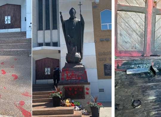 خبر-کانادا-کلیسای-پنجم-کانادایی-هم-آتش-گرفت-اما-خاکستر-نشد-مجسمه-پاپ-خونی-شد